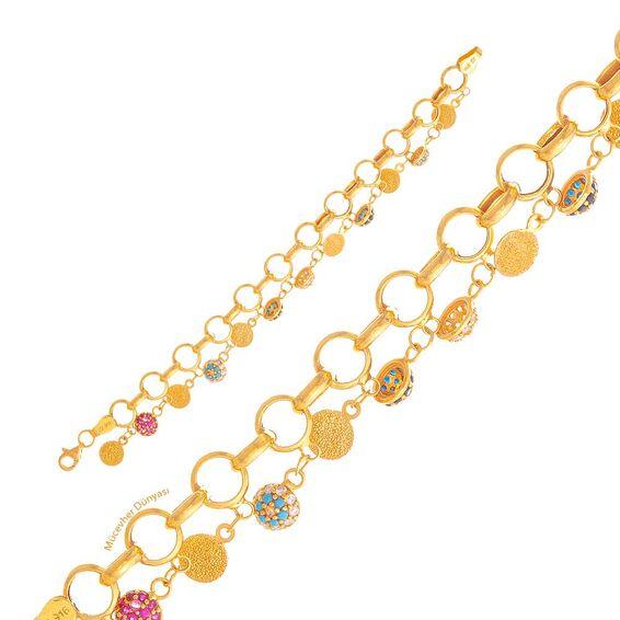 Mücevher Dünyası - 22 Ayar Renkli Taşlı Çocuk Altın Bileklik - 7,42 Gr.