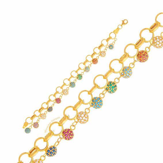 Mücevher Dünyası - 22 Ayar Renkli Taşlı Çocuk Altın Bileklik - 8,57 Gr.