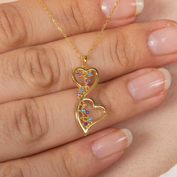 Mücevher Dünyası - 22 Ayar Renkli Taşlı iki Kalp Altın Kolye - 3,64 Gr. - 44,5 Cm.