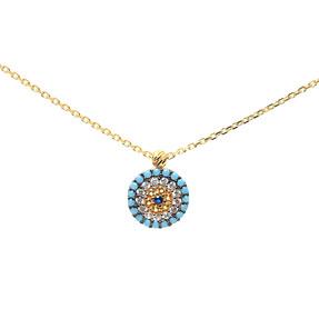 - 22 Ayar Renkli Taşlı Nazar Altın Kolye | Mücevher Dünyası
