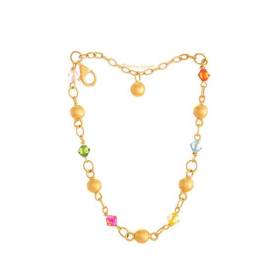 Mücevher Dünyası - 22 Ayar Renkli Taşlı Nohutlu Çocuk Altın Bileklik - 4,06 Gr.