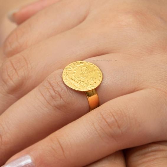 Mücevher Dünyası - 22 Ayar Reşatlı Altın Fantezi Yüzük - 3,35 Gr.