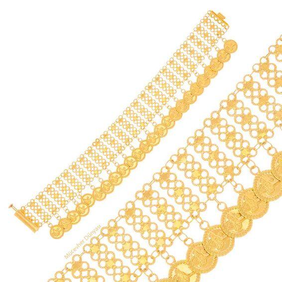 Mücevher Dünyası - 22 Ayar Reşat Liralı Akıtma Altın Bileklik - 16,30 Gr.