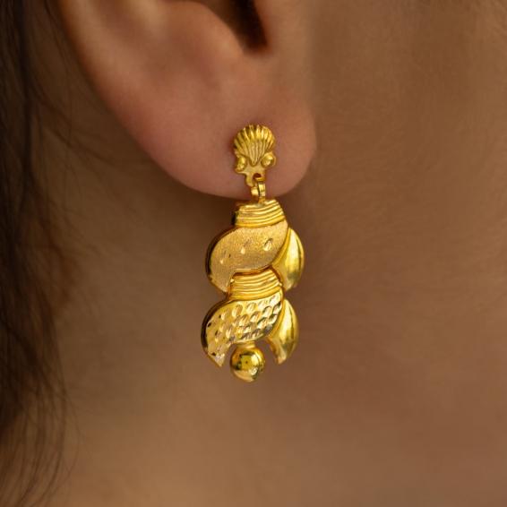 Mücevher Dünyası - 22 Ayar Sallantılı Altın Küpe - 2,75 Gr.