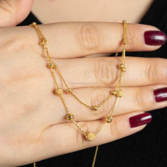 Mücevher Dünyası - 22 Ayar Sallantılı Dorika Kolye - 4,72 Gr.
