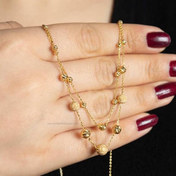 Mücevher Dünyası - 22 Ayar Sallantılı Dorika Kolye - 6,89 Gr.