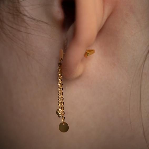 Mücevher Dünyası - 22 Ayar Sallantılı Dorika Toplu Altın Küpe - 1,78 Gr.