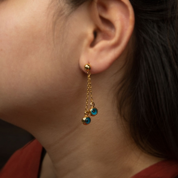 Mücevher Dünyası - 22 Ayar Sallantılı Nazar Boncuğu Altın Küpe - 5,55 Gr.