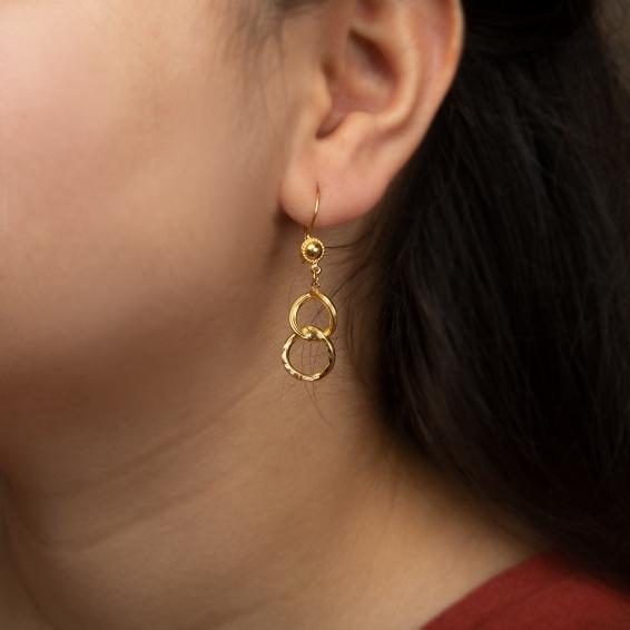 Mücevher Dünyası - 22 Ayar Sallantılı Sarkaç Altın Küpe - 2,88 Gr.