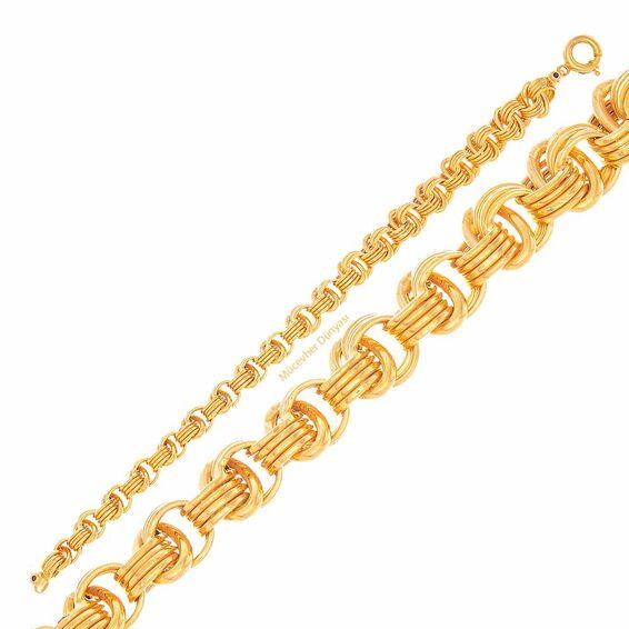 Mücevher Dünyası - 22 Ayar Samanyolu ve Halka Altın Bileklik - 17,02 Gr.