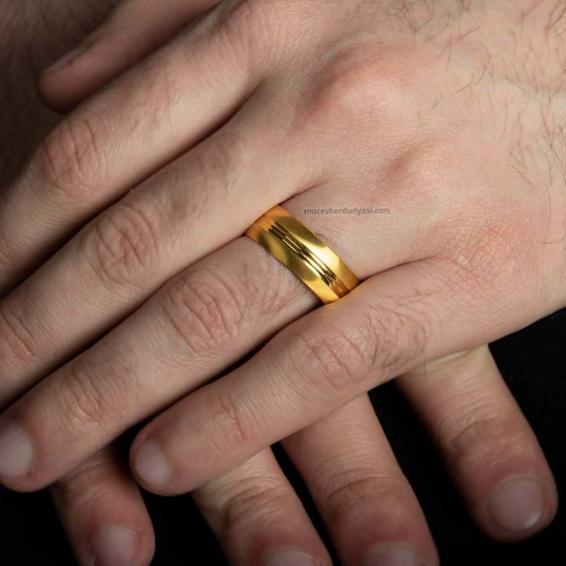 Mücevher Dünyası - 22 Ayar Şeritli Erkek Altın Alyans - 5,74 Gr. - 27