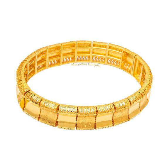 Mücevher Dünyası - 22 Ayar Simli Özel Tasarım Altın Kelepçe - 35,95 Gr.