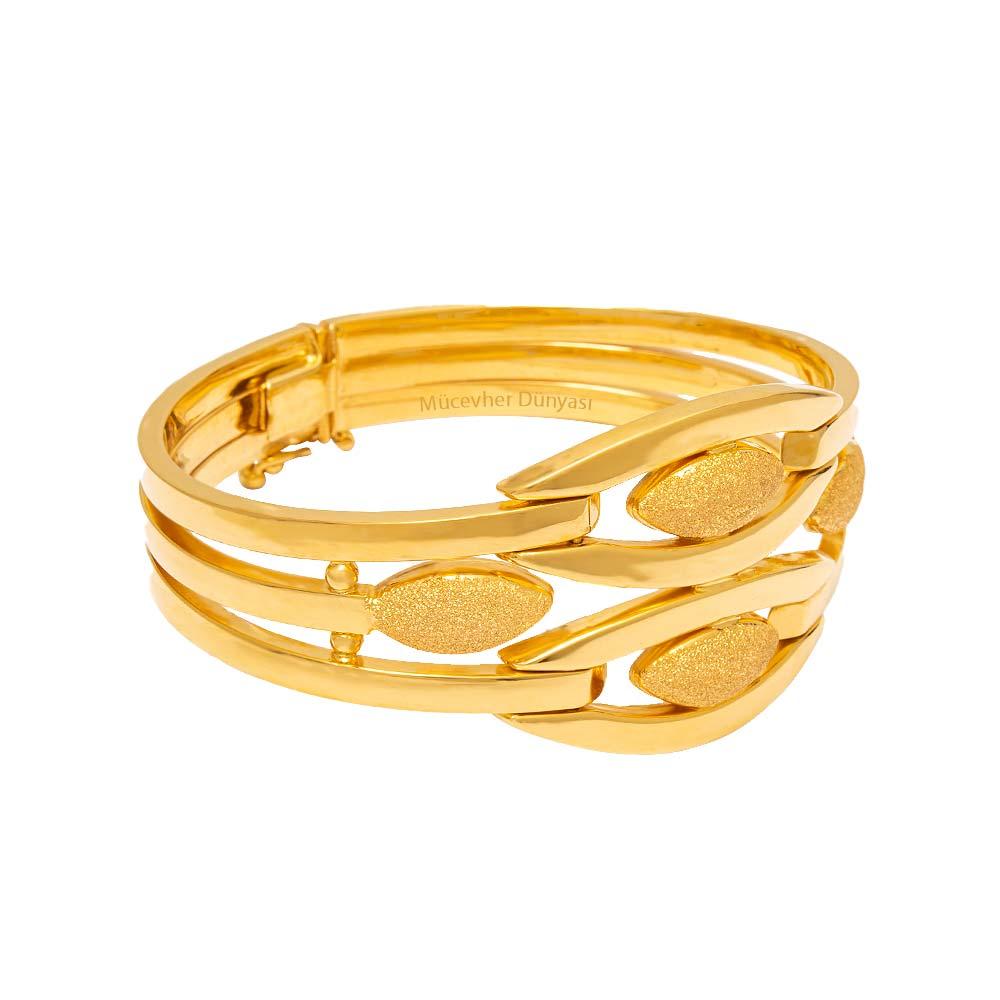 Mücevher Dünyası - 22 Ayar Simli Özel Tasarım Kaburga Altın Kelepçe - 35.79 Gr