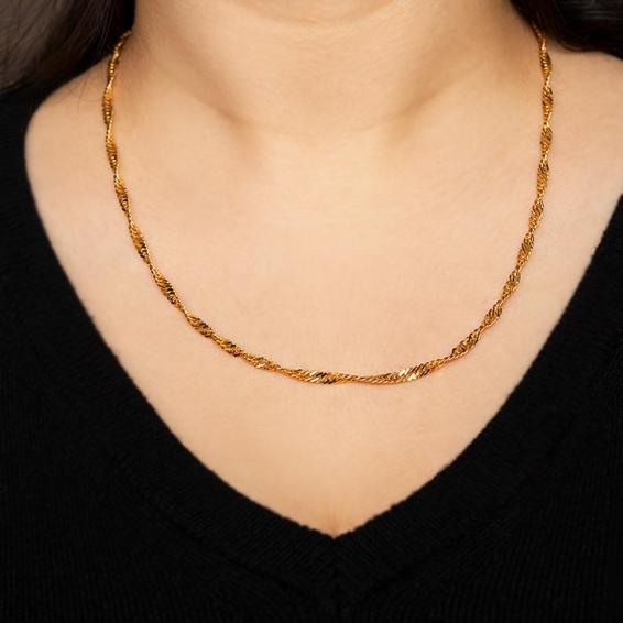 Mücevher Dünyası - 22 Ayar Singapur Altın Zincir - 49 Cm. - 11,10 Gr. - 3,07 Mm.