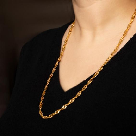 Mücevher Dünyası - 22 Ayar Singapur Altın Zincir - 61,5 Cm. - 24,68 Gr. - 4,30 Mm.