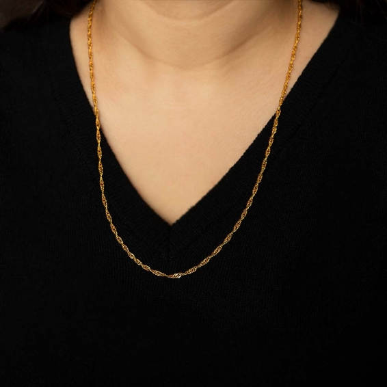Mücevher Dünyası - 22 Ayar Singapur Altın Zincir - 59,5 Cm. - 8,08 Gr. - 2,35 Mm.