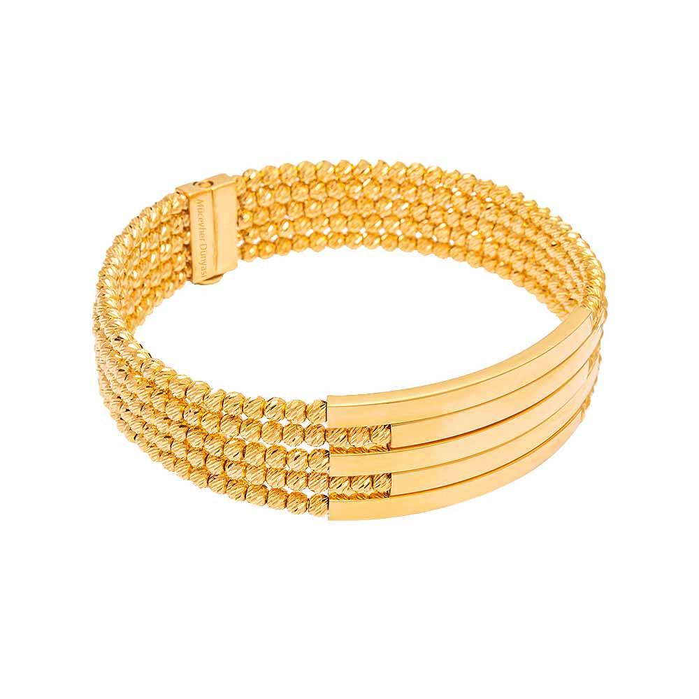 Mücevher Dünyası - 22 Ayar Sıralı Dorika Kaburga Altın Kelepçe - 44.94 Gr.