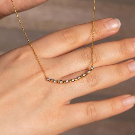 Mücevher Dünyası - 22 Ayar Sıralı Taşlı Altın Kolye - 4,00 Gr.