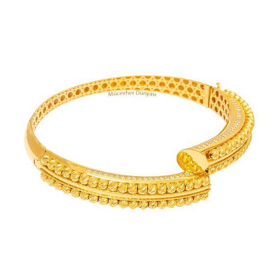 Mücevher Dünyası - 22 Ayar Sıralı Taşlı Dorika Tasarım Altın Kelepçe - 26,81 Gr.