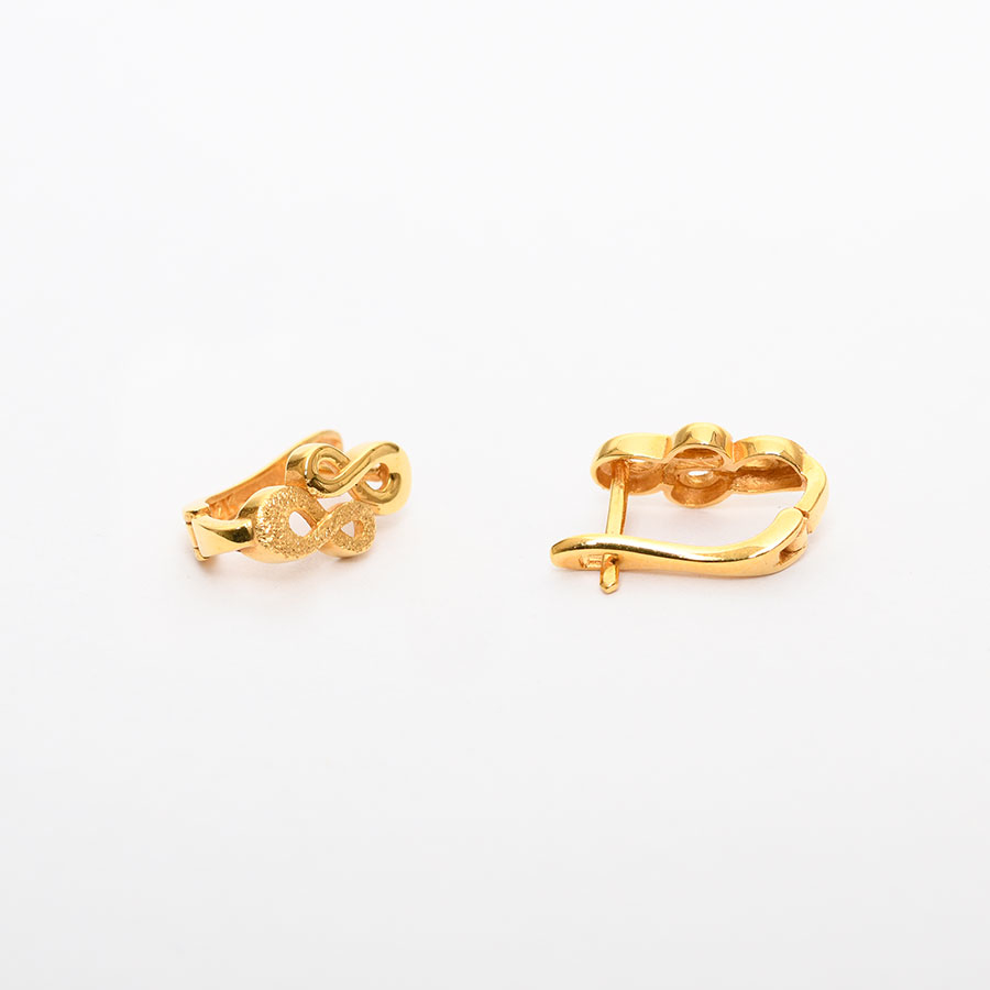 Mücevher Dünyası - 22 Ayar Sonsuzluk Altın Küpe - 4.35 Gr.