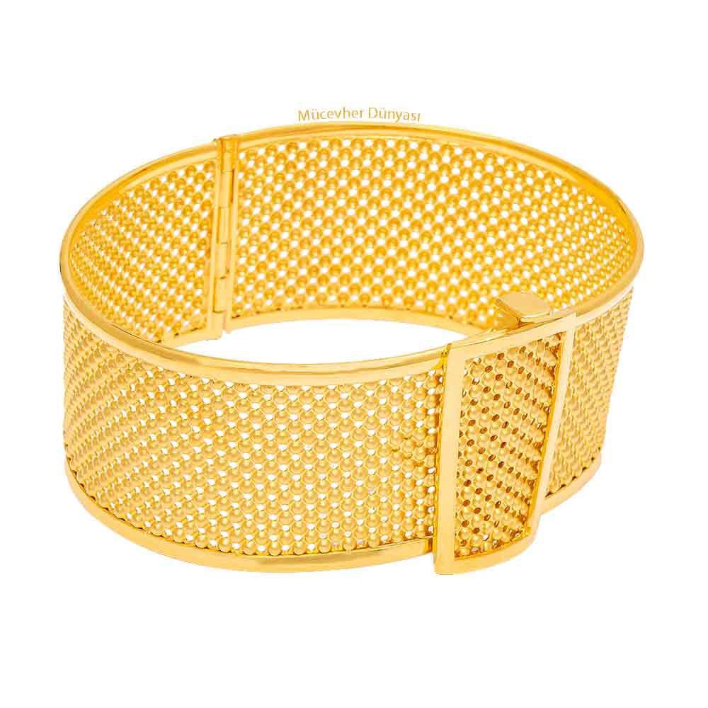 Mücevher Dünyası - 22 Ayar Tasarım Altın Kelepçe - 36,07 Gr.