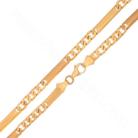 Mücevher Dünyası - 22 Ayar Tasarım Erkek Altın Zincir - 47 Cm - 23,18 Gr.