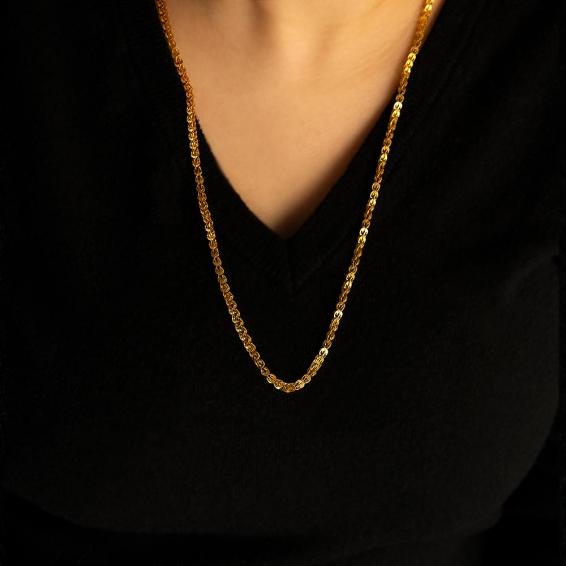 Mücevher Dünyası - 22 Ayar Tasarım Altın Zincir - 55 Cm - 14,31 Gr. - 4,17 Mm.