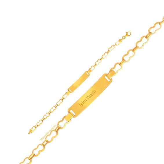 Mücevher Dünyası - 22 Ayar Tasarım Çocuk Altın Künye - 3,48 Gr.