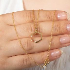22 Ayar Taşlı Altıgen Altın Kolye - 2,87 Gr. - 46 Cm. - Thumbnail