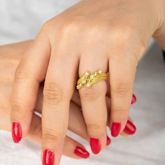 Mücevher Dünyası - 22 Ayar Taşlı Altın Fantezi Yüzük - 3,57 Gr. - 18