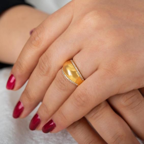Mücevher Dünyası - 22 Ayar Taşlı Altın Fantezi Yüzük - 4,06 Gr. - 15