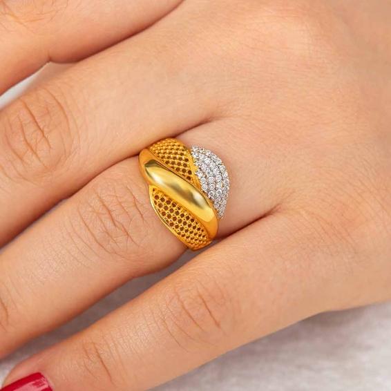 Mücevher Dünyası - 22 Ayar Taşlı Altın Fantezi Yüzük - 4,36 Gr. - 15