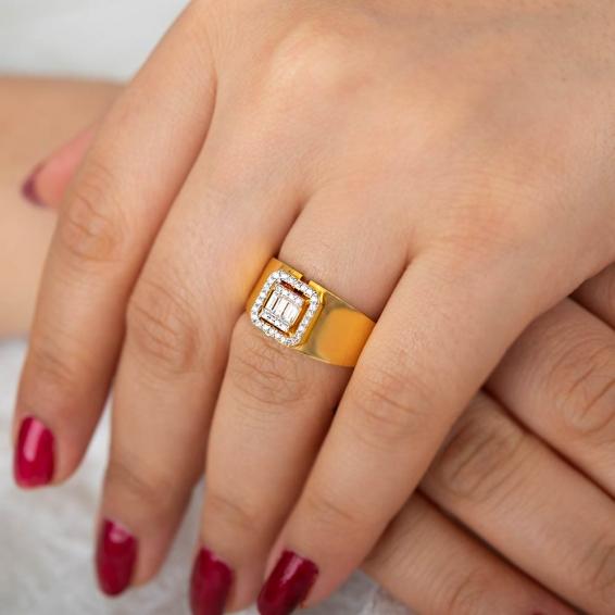 Mücevher Dünyası - 22 Ayar Taşlı Altın Fantezi Yüzük - 5,57 Gr. - 19
