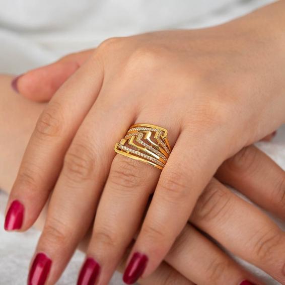 Mücevher Dünyası - 22 Ayar Taşlı Altın Fantezi Yüzük - 6,42 Gr. - 19