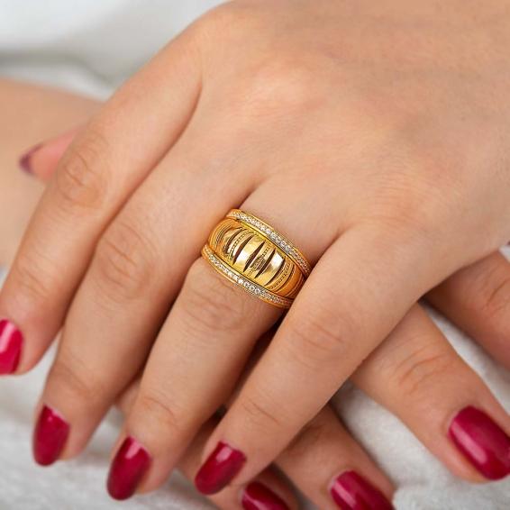Mücevher Dünyası - 22 Ayar Taşlı Altın Fantezi Yüzük - 6,55 Gr. - 18