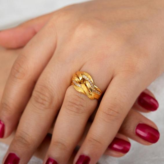 Mücevher Dünyası - 22 Ayar Taşlı Altın Fantezi Yüzük - 6,73 Gr. - 17
