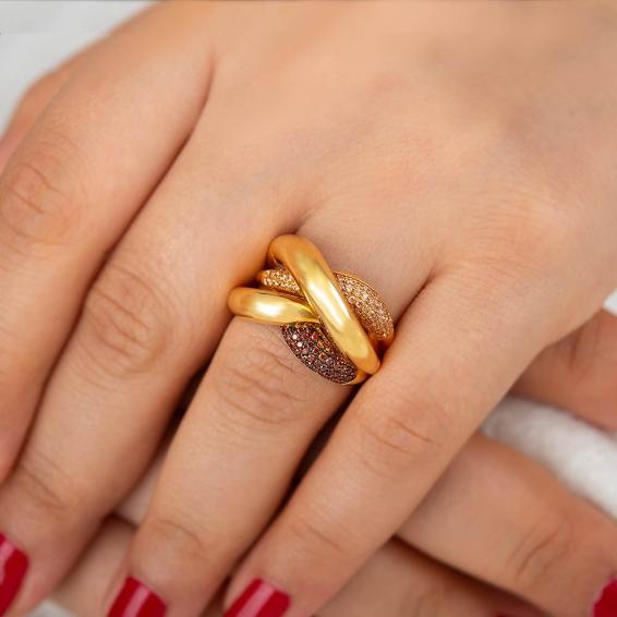 Mücevher Dünyası - 22 Ayar Taşlı Altın Fantezi Yüzük - 8,77 Gr. - 18