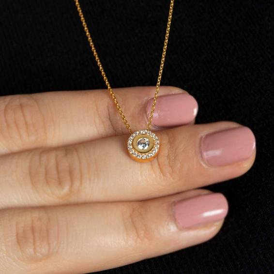 Mücevher Dünyası - 22 Ayar Taşlı Altın Kolye - 2,89 Gr.