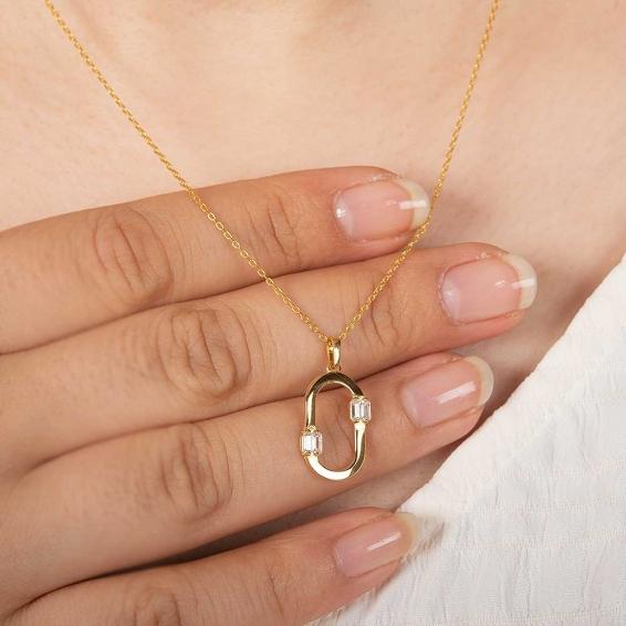 Mücevher Dünyası - 22 Ayar Taşlı Altın Kolye - 2,94 Gr. - 45 Cm.