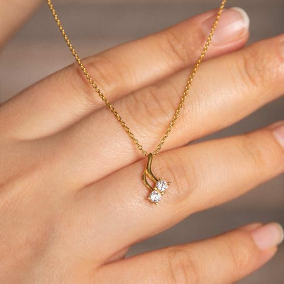 Mücevher Dünyası - 22 Ayar Taşlı Altın Kolye - 3,18 Gr.