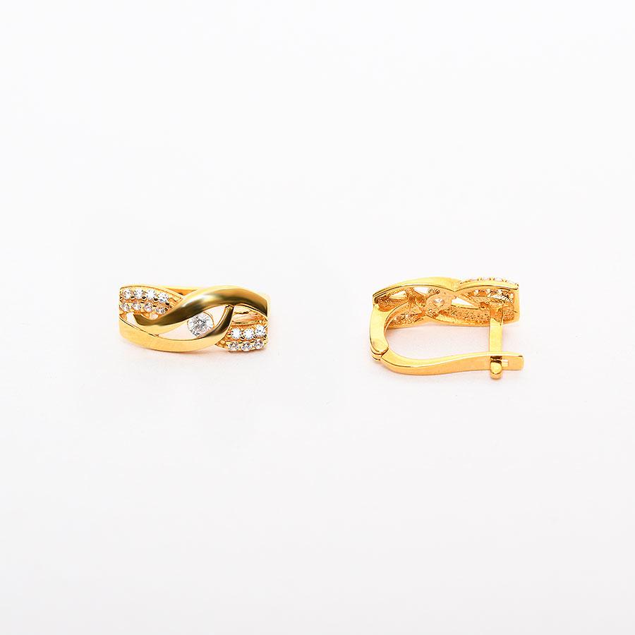Mücevher Dünyası - 22 Ayar Taşlı Altın Küpe - 4.05 Gr.