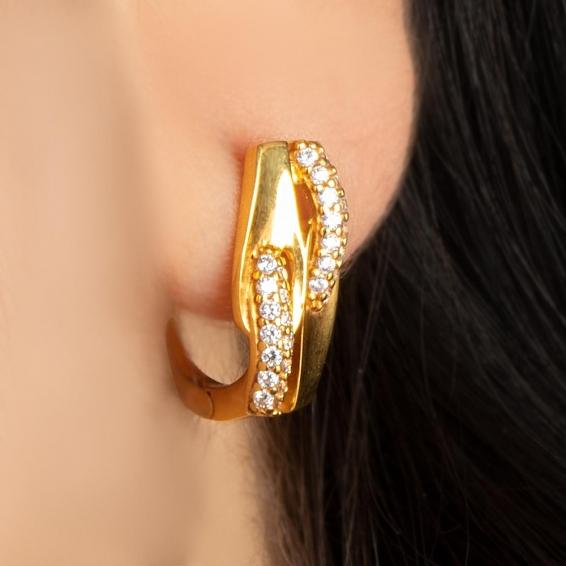 Mücevher Dünyası - 22 Ayar Taşlı Altın Küpe - 4,08 Gr.