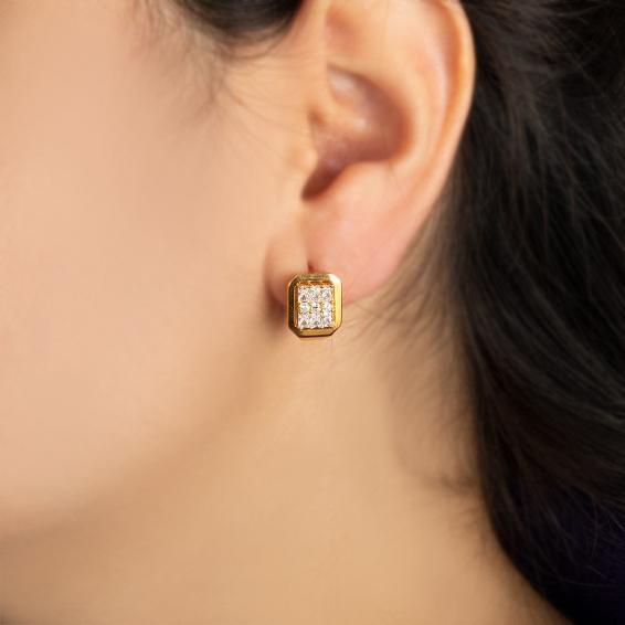 Mücevher Dünyası - 22 Ayar Taşlı Altın Küpe - 5,78 Gr.