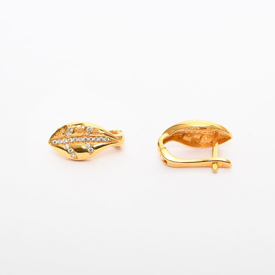 Mücevher Dünyası - 22 Ayar Taşlı Altın Küpe - 4,71 Gr.