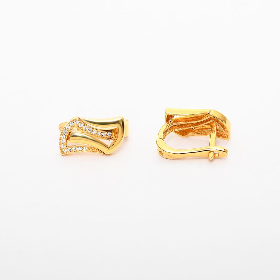 Mücevher Dünyası - 22 Ayar Taşlı Altın Küpe - 6.99 Gr.