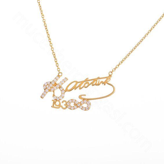 Mücevher Dünyası - 22 Ayar Taşlı Atatürk İmzalı 1938 Sonsuz Altın Kolye - 4,96 Gr.