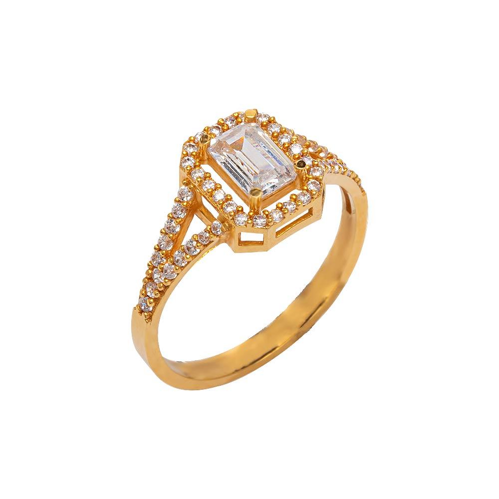 Mücevher Dünyası - 22 Ayar Taşlı Baget Fantezi Altın Yüzük - 2.80 Gr.