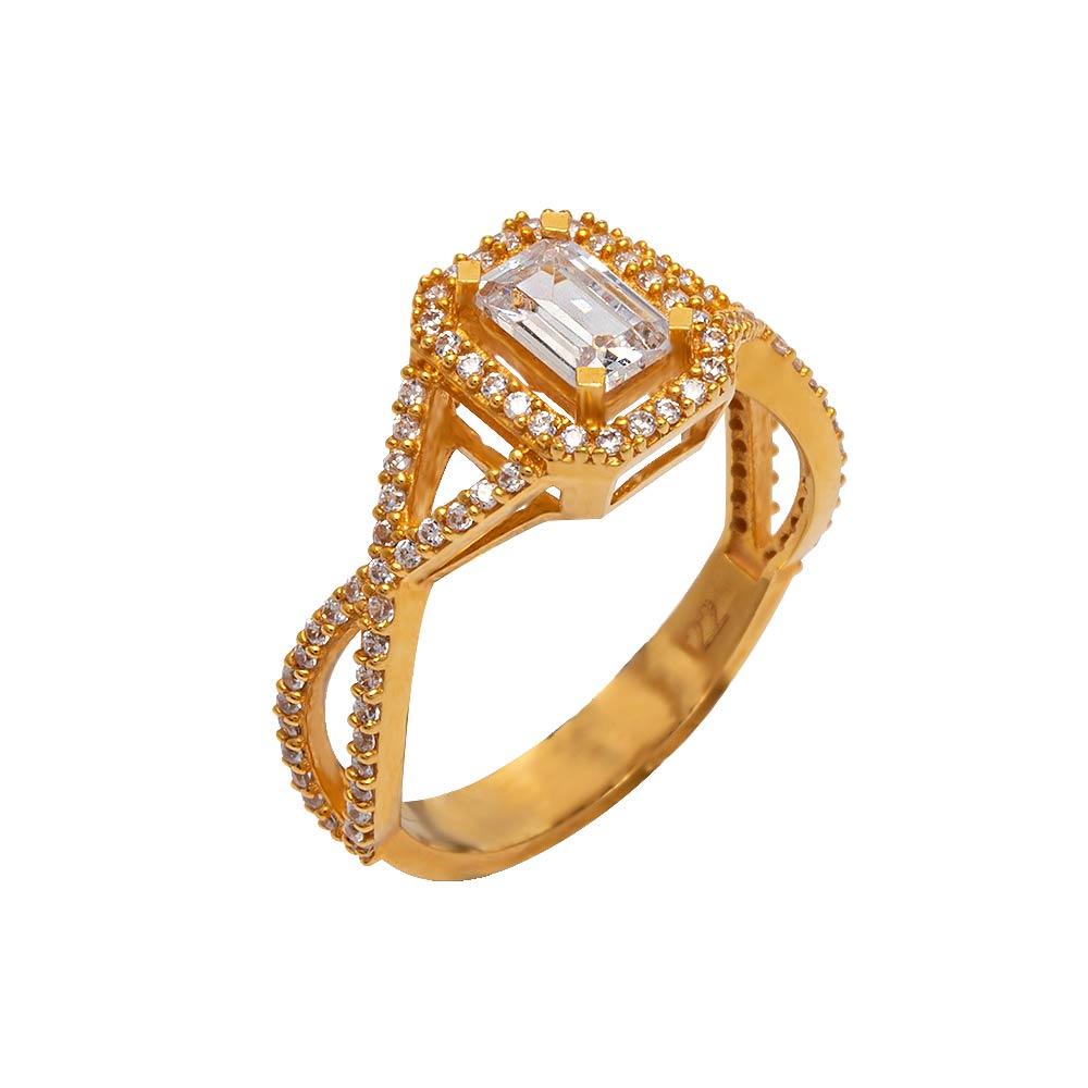 Mücevher Dünyası - 22 Ayar Taşlı Baget Fantezi Altın Yüzük - 4.06 Gr.
