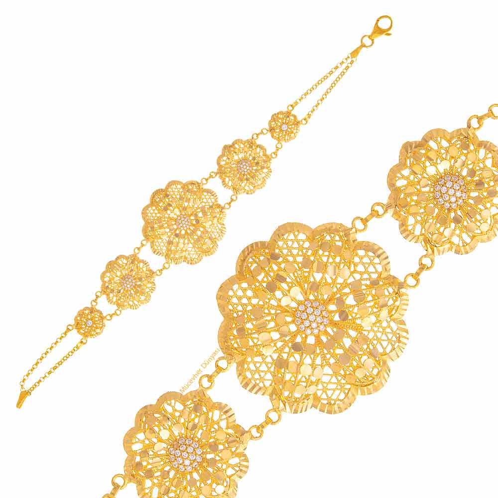 Mücevher Dünyası - 22 Ayar Taşlı Çiçek Desenli Altın Bileklik - 21,51 Gr.