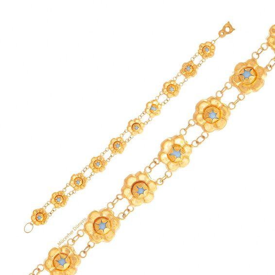 Mücevher Dünyası - 22 Ayar Taşlı Çiçek Desenli Çocuk Altın Bileklik - 6,15 Gr.